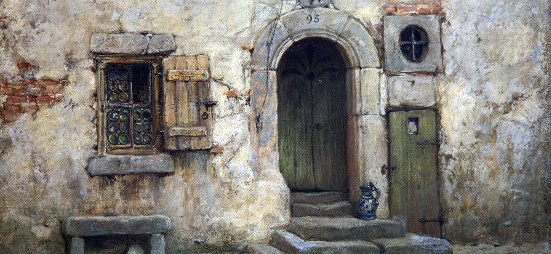 Andrew Fisher Bunner (1841-1897) [RA 1880-1897] : Old doorway, Rothenberg, Bavaria, 1880.