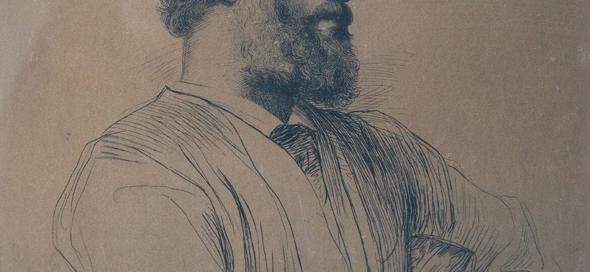 Paul-Adolphe Rajon (1842-1888) [NM] : Print after an engraving after a Portrait of Lord Frederic Leighton (1830-1896) [NM] by George Frederic Watts (1817-1904) [NM], ca.1881.