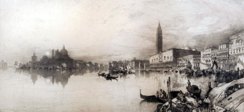 Thomas Moran (1837-1926) : The gates of Venice [etching], 1888.
