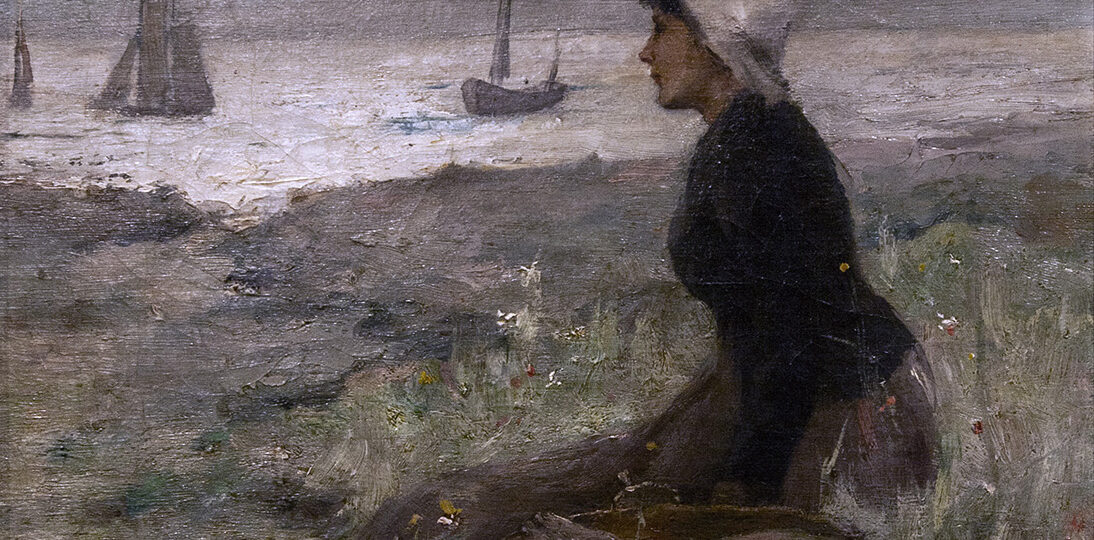 Clement Rollins Grant (1848-1893) [RP ca.1891-1893] : Moonlight, woman on the beach, 1891.