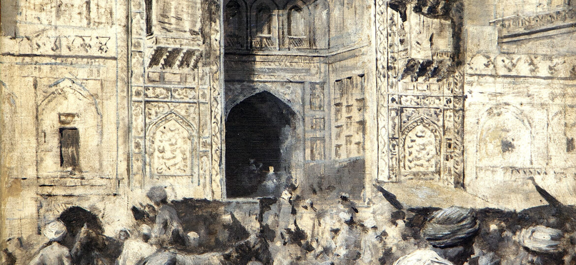Edwin Lord Weeks (1849-1903) [RA 1897-1903] : Gate of the mosque of Wazir Khan Lahore, India, ca.1893.