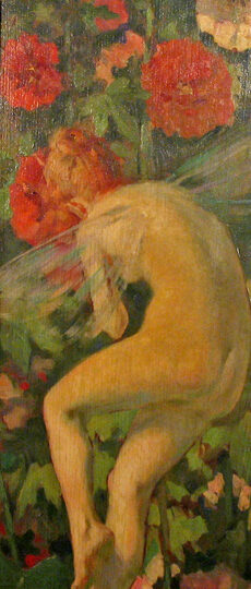 George Elmer Browne (1871-1946) : Nude in woodland, ca.1900s.