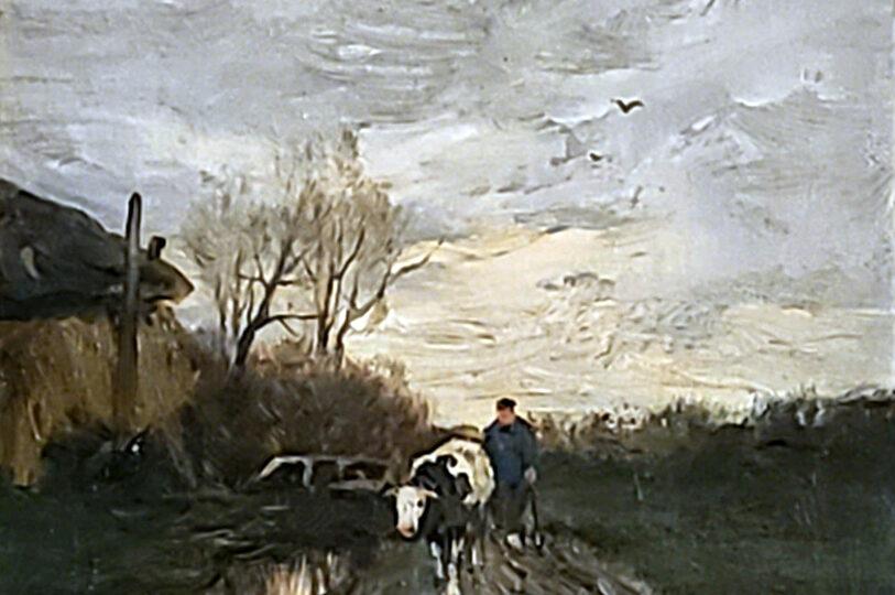 Charles Paul Gruppé (1860-1940) : Leading cows home, ca.1900.