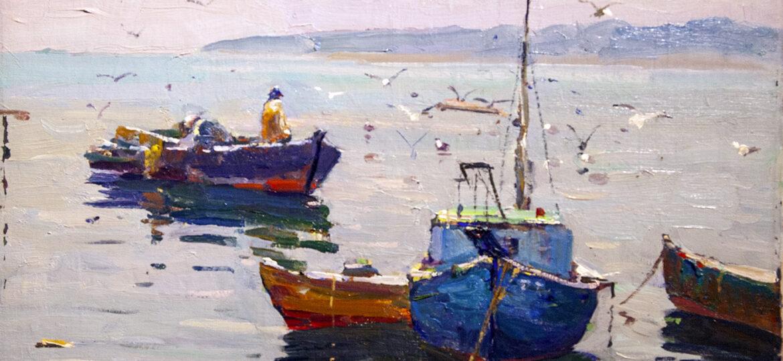 Antonio Cirino (1889-1983) : Feeding seagulls, ca.1900s.