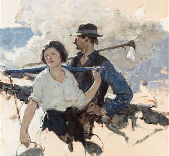 Dean Cornwell (1892-1960) : Farming couple, Good Housekeeping interior illustration, ca.1920s.