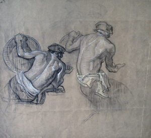 2007.470 Charles Dean Dan Cornwell 1892-1960 Two poses of worker with disk ca1930s