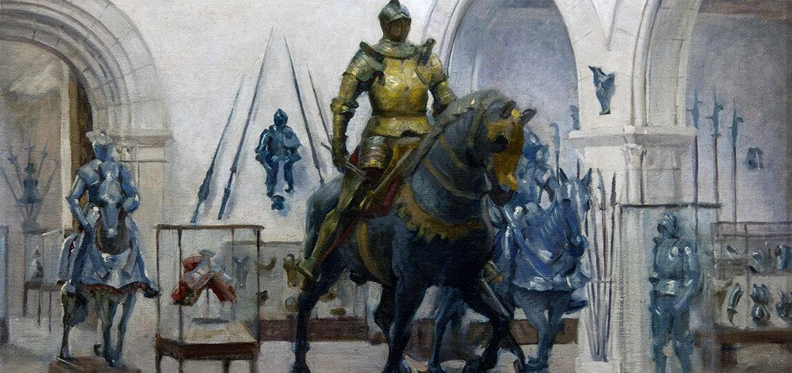 Adrian Stymets Lamb (1901-1988) [RA 1939-1988] : The armor room, ca.1945.