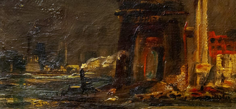 John Clifford Pellew (1903-1993) : Tugboat and bridge, ca.1950.