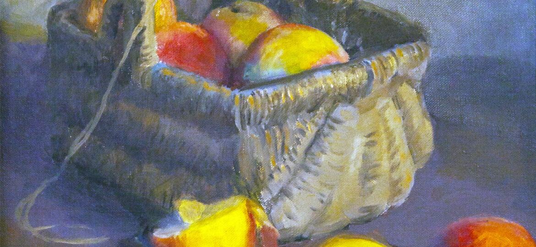 Alphaeus Philemon Cole (1876-1988) : Fruit in basket, 1971.