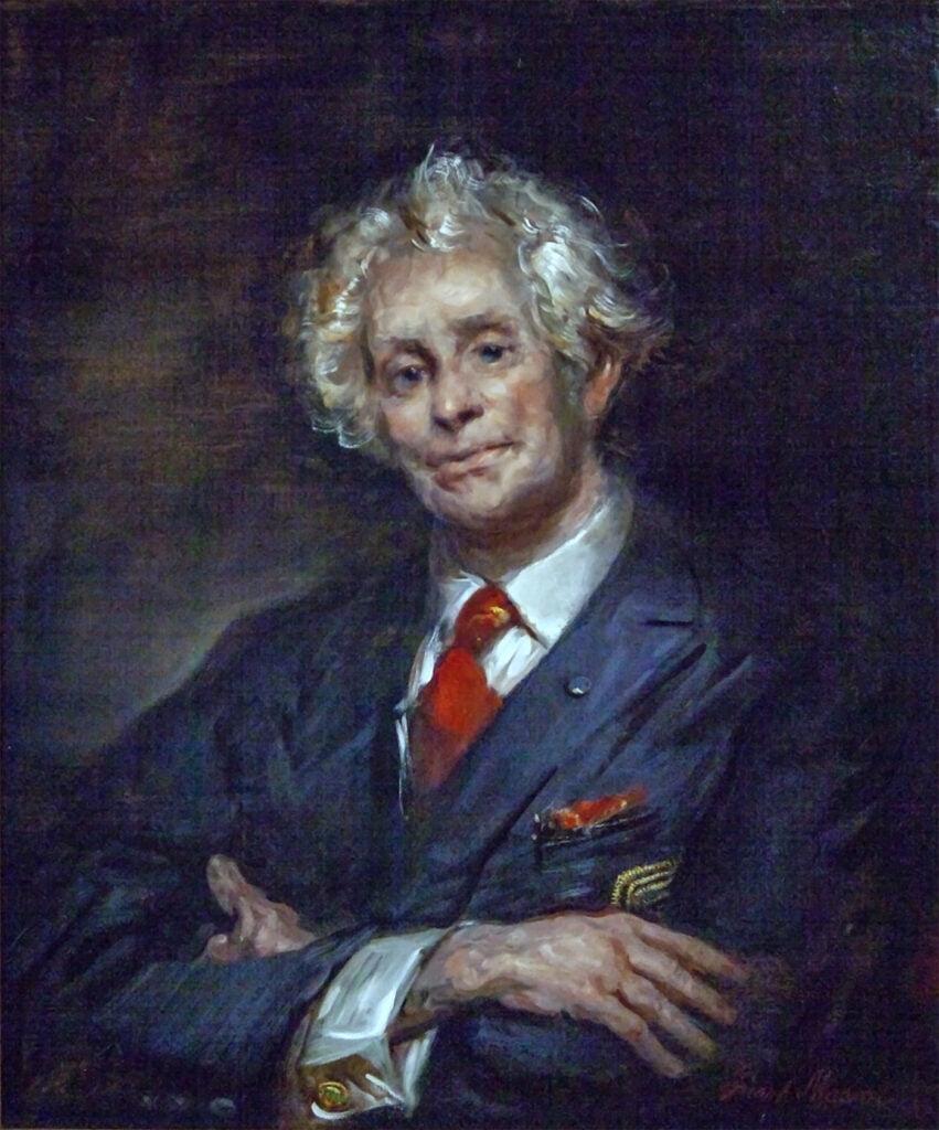 Frank Herbert Mason (1921-2009) [RA 1960-2009] : Portrait of Richard C Pionk, President of Salmagundi Club, 2002.
