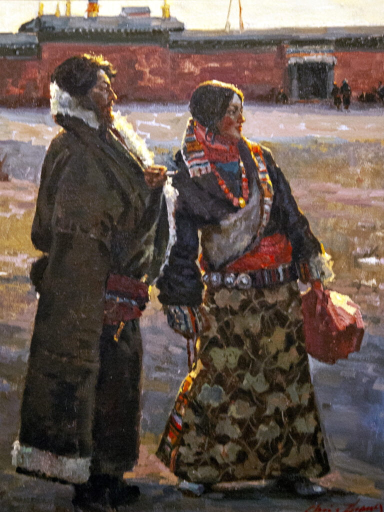 Christopher Zhang (1954- ) : Tibetan couple in front of temple, 2010.