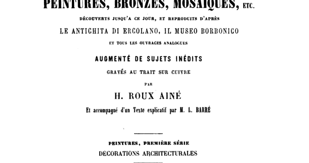 Herculanum et Pompéi : recueil général des peintures, bronzes, mosaiques, etc.