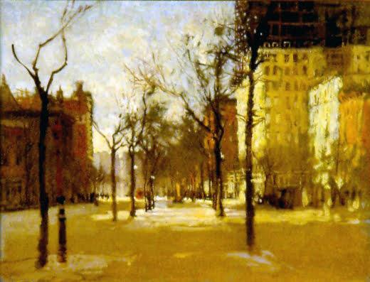 Paul Cornoyer (1864-1923) : Park street scene, ca.1900.