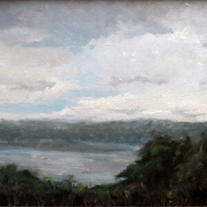 Diana Buitrago (b.) : View of the Palisades from Fort Tryon Park, NY (plein-air), 2019.
