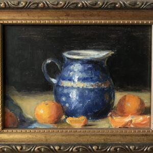 Marsha Massih (b.) : Blue pot with oranges, 2000s.