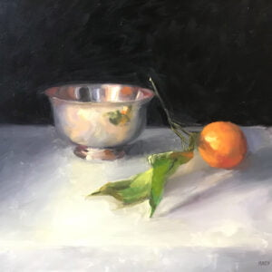Mandy Theis (b.) : Silver bowl and orange, 2000s.