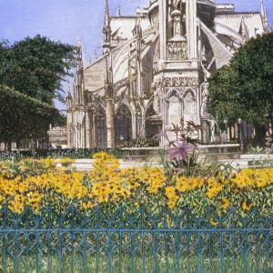 Roger Rossi (b.) : Garden at Notre Dame, 2000s.
