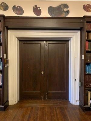 """Inner Library Doors size 82 ¾"""" H x 34 ¾""""W each door, inner panel 66 ¼""""H x 23 ½""""W each door"""