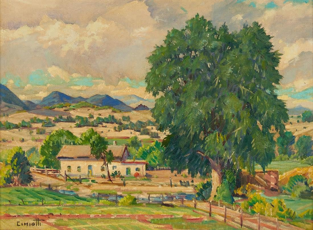 Gustave Cimiotti Jr (1875-1969) : Farm amidst hills, 1950.