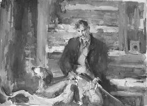 John Edward Costigan (1888-1972) : Hunter and dog, ca.1940s.