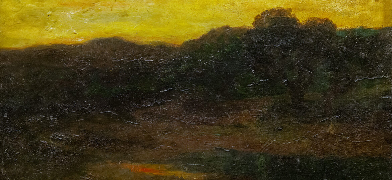 Franklin Knox Morton Rehn (1848-1914) : Untitled (sunset landscape) ca.1890s.
