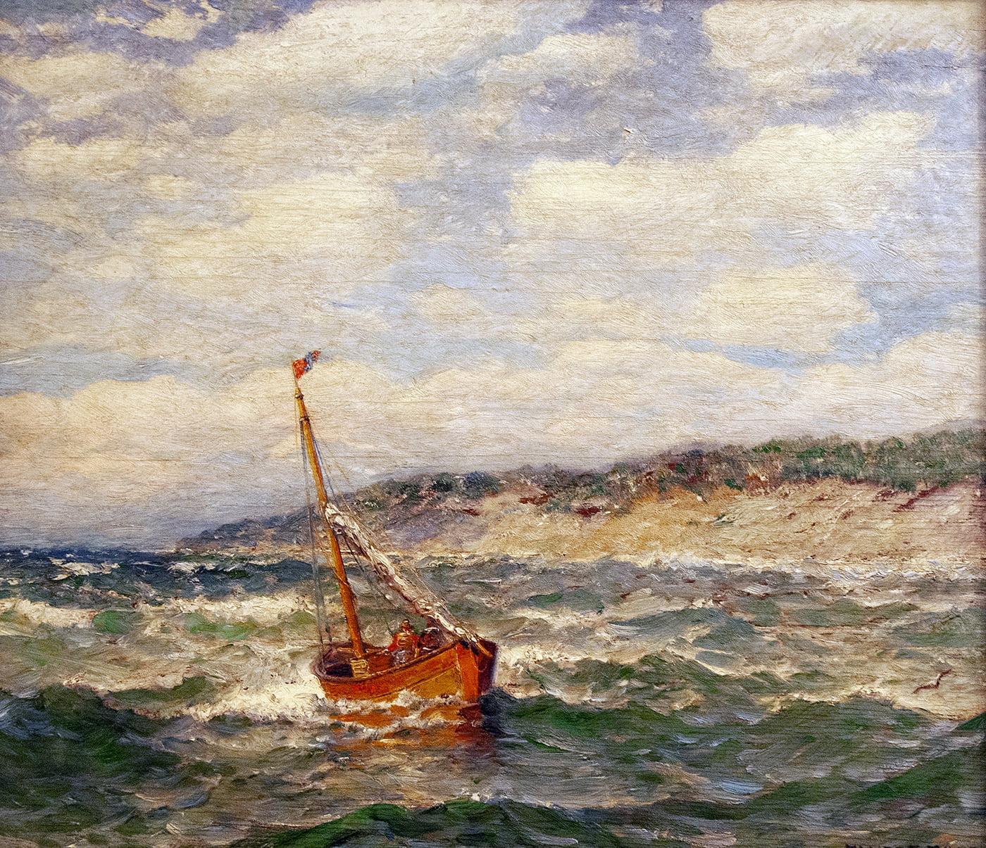 James Gale Tyler (1855-1931) : Sailboat at sea ca.1920s.