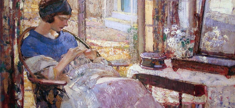 Richard Edward Miller (1875-1943) : Ellen – sewing, ca.1925.