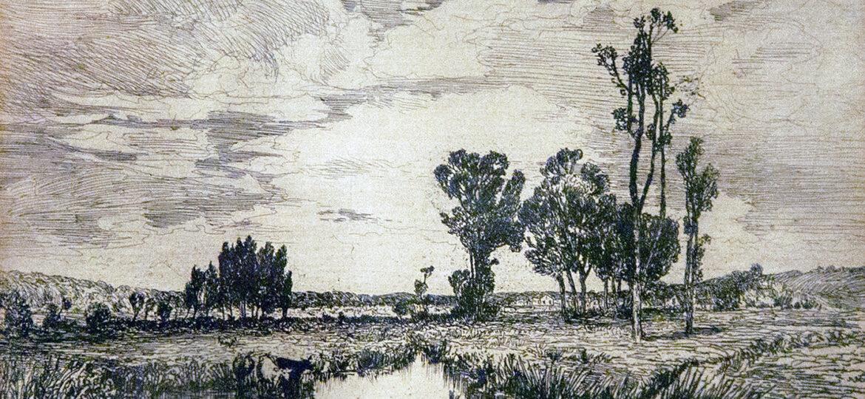 Mary Nimmo Moran (1842-1899) [NM] : Three cows in a marsh, 1881.