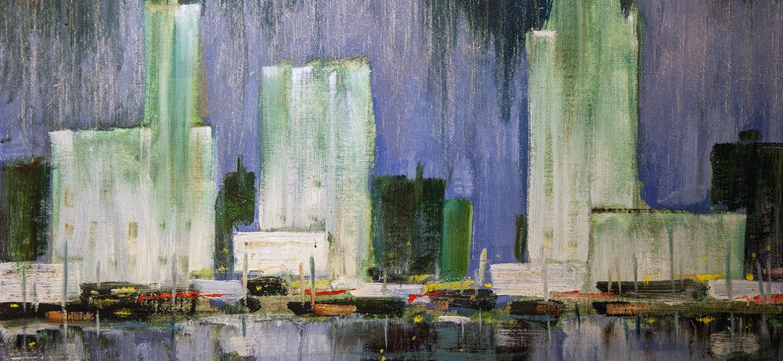 Harold Carpenter Wolcott (1898-1977) [RA 1951-1971] : City reflections, ca.1960s.