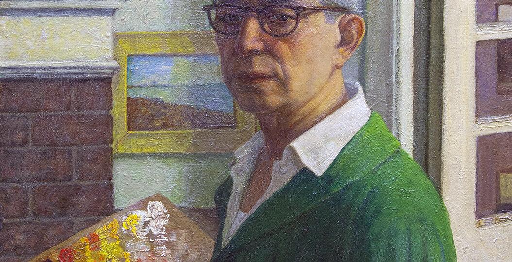 George Beline (1887-1971) [RA 1931-1971] : Portrait of a man [likely a self-portrait], 1968.